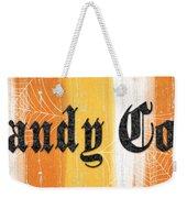 Candy Corn Sign Weekender Tote Bag by Linda Woods