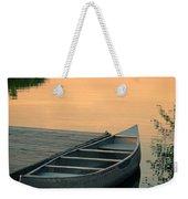 Canoe At A Dock At Sunset Weekender Tote Bag by Jill Battaglia