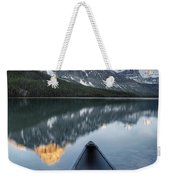 Canoe At Lower Waterfowl Lake With Weekender Tote Bag