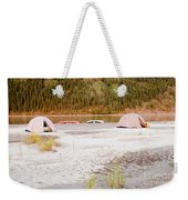 Canoe Tent Camp At Yukon River In Taiga Wilderness Weekender Tote Bag