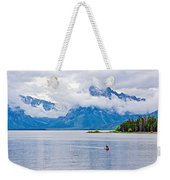 Canoeing In Colter Bay In Grand Teton National Park-wyoming Weekender Tote Bag