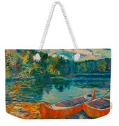 Canoes At Mountain Lake Weekender Tote Bag