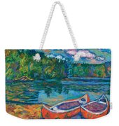 Canoes At Mountain Lake Sketch Weekender Tote Bag