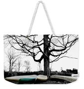 Canoes In Winter Weekender Tote Bag