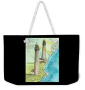 Cape Ann Twin Lighthouses Ma Nautical Chart Map Art Cathy Peek Weekender Tote Bag