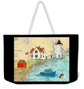 Cape Neddick Lighthouse Me Nautical Chart Map Art Cathy Peek Weekender Tote Bag