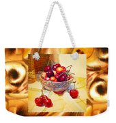 Cappuccino Abstract Collage Cherries Weekender Tote Bag