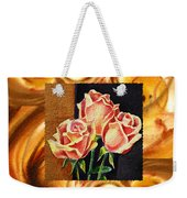 Cappuccino Abstract Collage French Roses Weekender Tote Bag