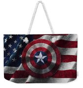 Captain America Shield On Usa Flag Weekender Tote Bag