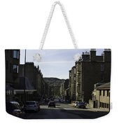 Car In A Queue Waiting For A Signal In Edinburgh Weekender Tote Bag