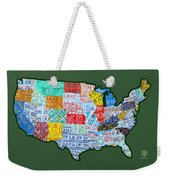 Car Tag Number Plate Art Usa On Green Weekender Tote Bag