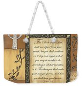 Caramel Scripture Weekender Tote Bag by Debbie DeWitt