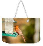Cardinal Bird At Bird-feeder Weekender Tote Bag