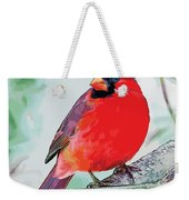 Cardinal In Ice Tree Weekender Tote Bag