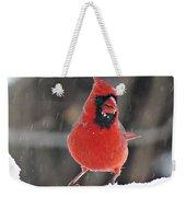 Cardinal In Snowstorm Weekender Tote Bag