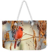 Cardinal In The Pokeberries Weekender Tote Bag