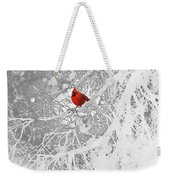 Cardinal In Winter Weekender Tote Bag by Ellen Henneke