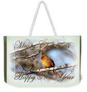Cardinal - Lady At Christmas Weekender Tote Bag