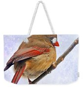 Cardinal On An Icy Twig - Digital Paint Weekender Tote Bag