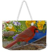 Cardinal With Pansies And Decorations Weekender Tote Bag