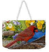 Cardinal With Pansies And Decorations Photoart Weekender Tote Bag
