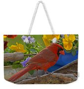 Cardinal With Pansies Weekender Tote Bag