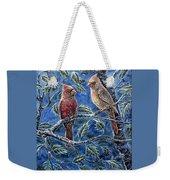 Cardinals And Holly Weekender Tote Bag