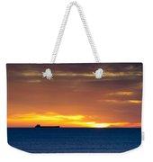 Cargo Ship On Horizon At Dawn Weekender Tote Bag