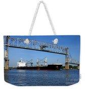 Cargo Ship Under Bridge Weekender Tote Bag