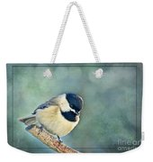 Carlina Chickadee With Soft Blue Bokeh Weekender Tote Bag