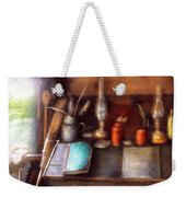 Carpenter - In A Carpenter's Workshop  Weekender Tote Bag by Mike Savad