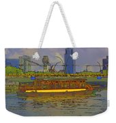 Cartoon - Colorful River Cruise Boat In Singapore Next To A Bridge Weekender Tote Bag