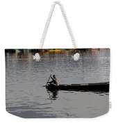 Cartoon - Kashmiri Man Rowing A Small Wooden Boat In The Waters Of The Dal Lake Weekender Tote Bag