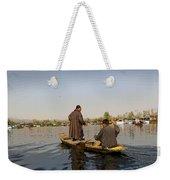 Cartoon - Kashmiri Men Plying A Wooden Boat In The Dal Lake In Srinagar Weekender Tote Bag