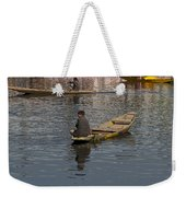 Cartoon - Kashmiri Men Rowing Many Small Wooden Boats In The Waters Of The Dal Lake Weekender Tote Bag