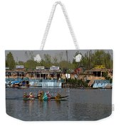 Cartoon - Ladies On 2 Wooden Boats On The Dal Lake With The Background Of Houseboats Weekender Tote Bag