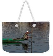 Cartoon - Man Plying A Wooden Boat On The Dal Lake Weekender Tote Bag