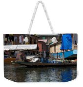 Cartoon - Man Rowing Small Boat Laden With Vegetables In The Dal Lake In Srinagar Weekender Tote Bag