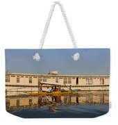 Cartoon - Shikara With Tourists Passing In Front Of A Large Houseboat In The Dal Lake Weekender Tote Bag