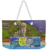 Cartoon - Statue Of The Merlion With A Banner Below The Statue Weekender Tote Bag