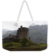 Cartoon - Structure Of The Eilean Donan Castle In Front With Dry Part Of Lake Weekender Tote Bag