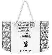 Cartouche, 1529 Weekender Tote Bag