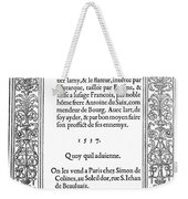 Cartouches, 1537 Weekender Tote Bag