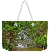 Cascade Over Mossy Rocks Along La Chute Trail In Forillon Np-qc Weekender Tote Bag