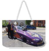 Cassie Simonton With Her Alcohol Funny Car Weekender Tote Bag