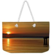 Cast Away - Young Child Fishing From A Pier On The Indian River Bay As The Sun Sets Across The Water Weekender Tote Bag