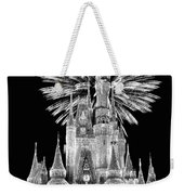 Castle With Fireworks In Black And White Walt Disney World Weekender Tote Bag