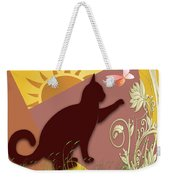 Cat And Butterfly Weekender Tote Bag