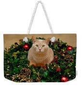 Cat And Christmas Wreath Weekender Tote Bag