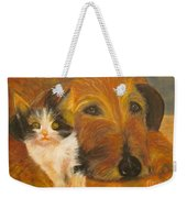 Cat And Dog Original Oil Painting  Weekender Tote Bag
